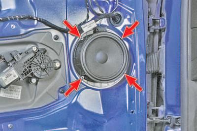 Снятие и установка динамика передней двери Шкода Фабия