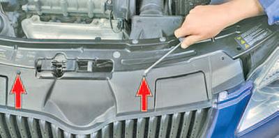 Снятие и установка переднего бампера Шкода Фабия
