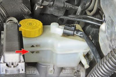 Проверка уровня и доливка тормозной жидкости в бачок гидроприводов тормозной системы и системы выключения сцепления Шкода Фабия