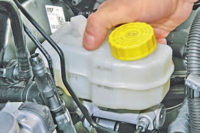 Снятие и установка бачка главного тормозного цилиндра Шкода Фабия