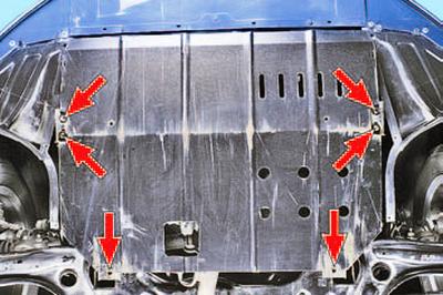 Снятие и установка защиты картера двигателя Шкода Фабия